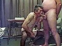 This big grandpa is fingering holes showing a old doggers Tube.