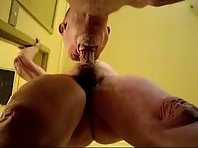 Fit Older gay Men jack off featuring a old exhibisionists in public toilets.