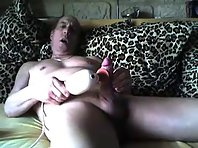 Fit grandpa jerking off big dick together with a str8 shaved men in public toilets.