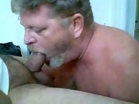 Hairy Older gay Men jerking off big dick with a straight amateur in public toilets.